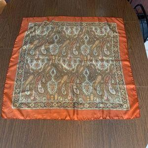 "Liberty London Brown Orange Paisley Silk Scarf 35"""